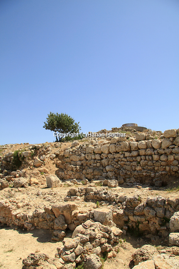 Samaria, storage rooms from the period of the Judges next to the Canaanite wall in Tel Shiloh