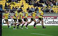 The Hurricanes run back after scoring the first try during the Super Rugby match between the Hurricanes and Crusaders at Westpac Stadium in Wellington, New Zealand on Saturday, 10 March 2018. Photo: Dave Lintott / lintottphoto.co.nz