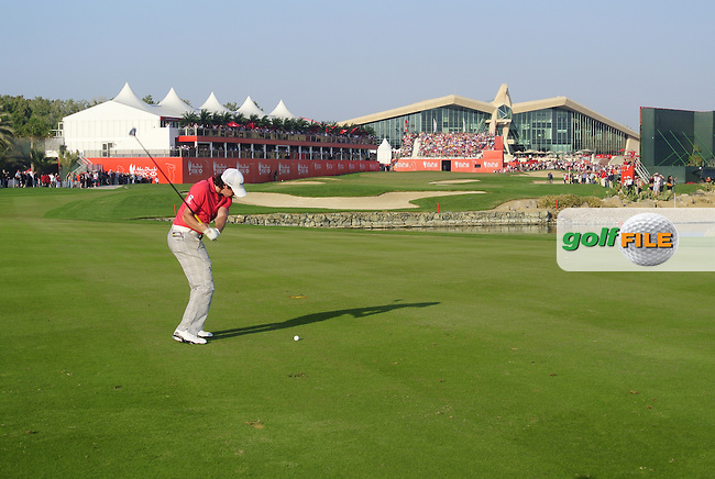 Rory McIlroy (NIR) plays his 2nd shot on the 18th hole during Friday's Round 2 of the HSBC Golf Championship at the Abu Dhabi Golf Club, United Arab Emirates, 27th January 2012 (Photo Eoin Clarke/www.golffile.ie)