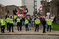 Saturday 05 April 2014<br /> Pictured: National front protesters outside Swansea Castle <br /> Re: White Pride and Anti Fascist groups protest in Swansea City Cebtre