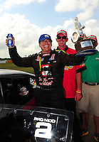 Apr. 29, 2012; Baytown, TX, USA: NHRA pro mod driver Danny Rowe celebrates after winning the Spring Nationals at Royal Purple Raceway. Mandatory Credit: Mark J. Rebilas-
