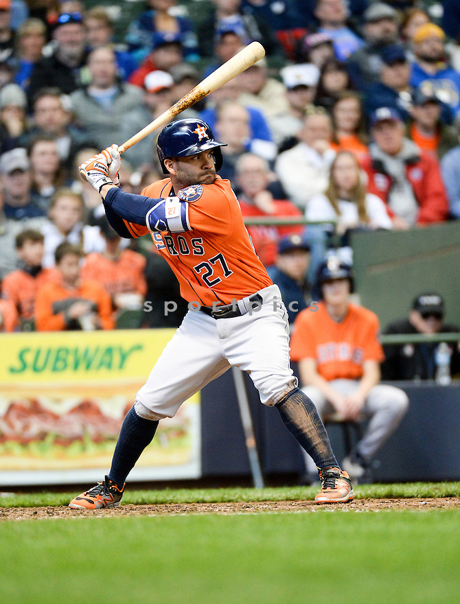 Houston Astros Jose Altuve (27) during a game against the Milwaukee Brewers on April 10, 2016 at Miller Park in Milwaukee, WI. The Brewers beat the Astros 3-2.