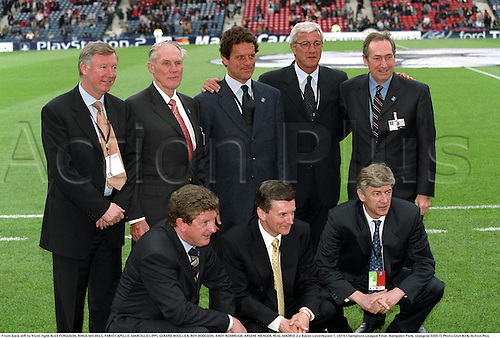 05.15.2002. Glasgow, Scotland. From back left to front right ALEX FERGUSON, RINUS MICHELS, FABIO CAPELLO, MARCELLO LIPPI, GERARD HOULLIER, ROY HODGSON, ANDY ROXBRUGH, ARSENE WENGER, REAL MADRID 2 v Bayer Leverkusen 1, UEFA Champions League Final, Hampden Park, Glasgow.