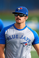 Toronto Blue Jays Brock Lundquist (20) warms up on a side field before an Instructional League game against the Pittsburgh Pirates on October 14, 2017 at the Englebert Complex in Dunedin, Florida.  (Mike Janes/Four Seam Images)