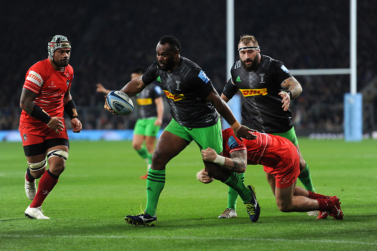 Vereniki Goneva of Harlequins in action during Big Game 12 in the Gallagher Premiership Rugby match between Harlequins and Leicester Tigers at Twickenham Stadium on Saturday 28th December 2019 (Photo by Rob Munro/Stewart Communications)