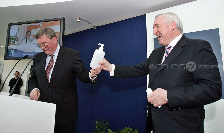 16/04/'07 Niall O'Carroll, Chairman of the Hermitage Medical Clinic presents Taoiseach Bertie Ahern with a tube and a tub of hand clenser gel at the Hermitage Medical Clinic this morning when the Taoiseach officially opened the new 126 bed private EUR130 million hospital in Lucan. The hospital will be one of the largest employers in West Dublin. growing from 170 to over 300 employees in the next 12 months...Picture Collins, Dublin, Colin keegan.