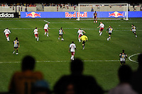 Neymar (7) of Santos FC brings the ball up field during the second half of a friendly between Sanots FC and the New York Red Bulls at Red Bull Arena in Harrison, NJ, on March 20, 2010. The Red Bulls defeated Santos FC 3-1.
