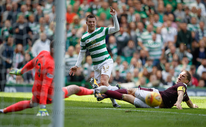 Callum McGregor puuls his shot wide of keeper Jack Hamilton as Christophe Berra challenges