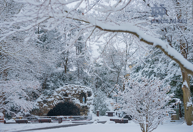 Jan. 5, 2013; Grotto after a snowfall<br /> <br /> Photo by Matt Cashore/University of Notre Dame