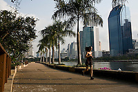 Lital Zastlin runs over 8 km around a lake as part of her morning routine of the daily training..(please refer to emailed captions for individual stories).Shuki Rosenweig and Students in training and daily life in Bangkok Thailand on 28th to 29th January 2010. .Photo by Suzanne Lee for Chabad Lubavitch