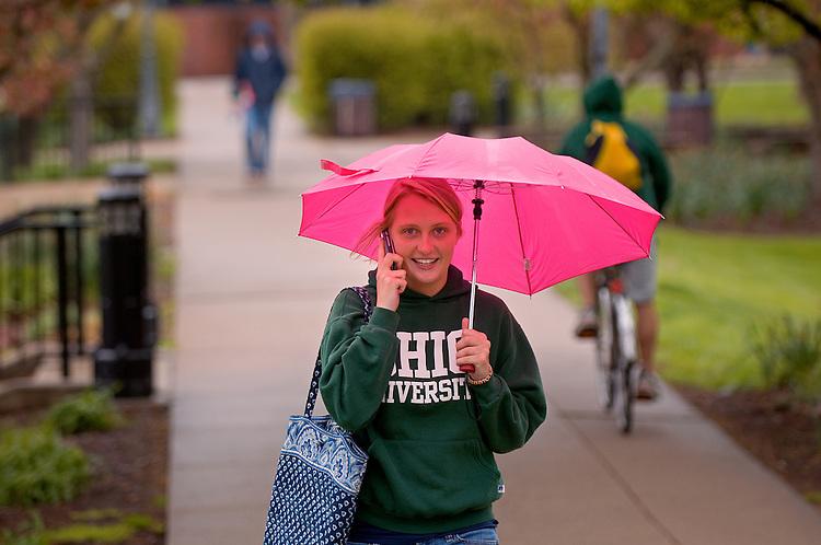 Spring Campus...Jennifer White with umbrella