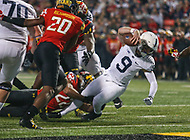 College Park, MD - November 25, 2017: Penn State Nittany Lions quarterback Trace McSorley (9) dives for the goal line during game between Penn St and Maryland at  Capital One Field at Maryland Stadium in College Park, MD.  (Photo by Elliott Brown/Media Images International)