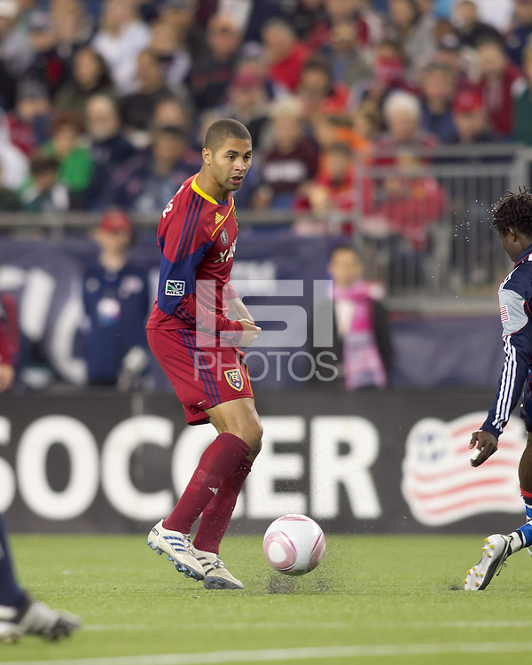 Real Salt Lake forward Alvaro Saborio (15) stops clearing pass. Real Salt Lake defeated the New England Revolution, 2-1, at Gillette Stadium on October 2, 2010.