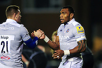Semesa Rokoduguni of Bath Rugby celebrates his second half try with team-mate Chris Cook. Aviva Premiership match, between Newcastle Falcons and Bath Rugby on January 6, 2017 at Kingston Park in Newcastle upon Tyne, England. Photo by: Patrick Khachfe / Onside Images
