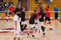STANFORD, CA - January 2, 2018: Kevin Rakestraw, Russell Dervay, Leo Henken, Eli Wopat, Evan Enriques at Burnham Pavilion. The Stanford Cardinal defeated the Calgary Dinos 3-1.