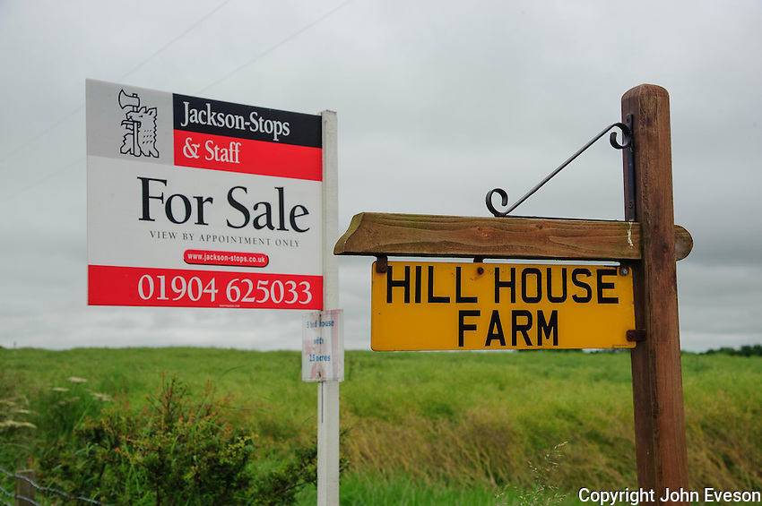 For sale sign at Hill House Farm Boldron, County Durham.