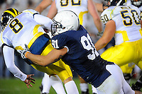 18 October 2008:  Penn State DT Jared Odrick sacks Michigan QB Nick Sheridan (8) in the end zone for a safety. .The Penn State Nittany Lions defeated the Michigan Wolverines 46-17 October 18, 2008 at Beaver Stadium in State College, PA.