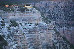 Twilight view of Lookout Studio near Bright Angel Lodge on the South Rim of the Grand Canyon, Grand Canyon National Park, Arizona, USA