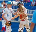 WATERBURY,  CT-072719JS27--D-Bat pitcher Evan Hebert (9) and catcher Landon Boyd (34) congratulate one another after getting out of an inning during their Mickey Mantle World Series game against Cyclones PonceSaturday at Municipal Stadium in Waterbury.  <br /> Jim Shannon Republican-American