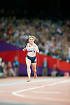 Great Briatin's Hazel Robson finishes the final of the women's T36 200m, Athletics Stadium London Paralympic Games Athletics 1.9.12