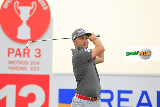Andy Sullivan (ENG) on the 13th tee during Round 1 of the Open de Espana  in Club de Golf el Prat, Barcelona on Thursday 14th May 2015.<br /> Picture:  Thos Caffrey / www.golffile.ie