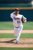 Buffalo Bisons relief pitcher Rhiner Cruz (55) delivers a pitch during a game against the Pawtucket Red Sox on June 28, 2018 at Coca-Cola Field in Buffalo, New York.  Buffalo defeated Pawtucket 8-1.  (Mike Janes/Four Seam Images)