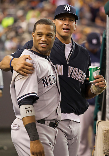 August 07, 2012:  New York Yankees third baseman Alex Rodriguez (13) and second baseman Robinson Cano (24) during MLB game action between the New York Yankees and the Detroit Tigers at Comerica Park in Detroit, Michigan.  The Tigers defeated the Yankees 6-5.