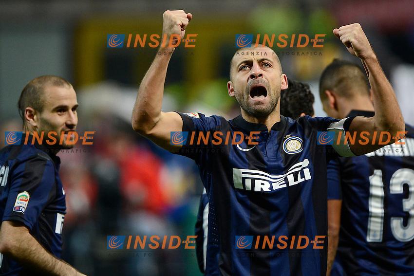 Esultanza gol di Walter Samuel 1-0 Inter. Celebration goal<br /> Milano 09-02-2014 Stadio Giuseppe Meazza - Football 2013/2014 Serie A. Inter - Sassuolo Foto Giuseppe Celeste / Insidefoto