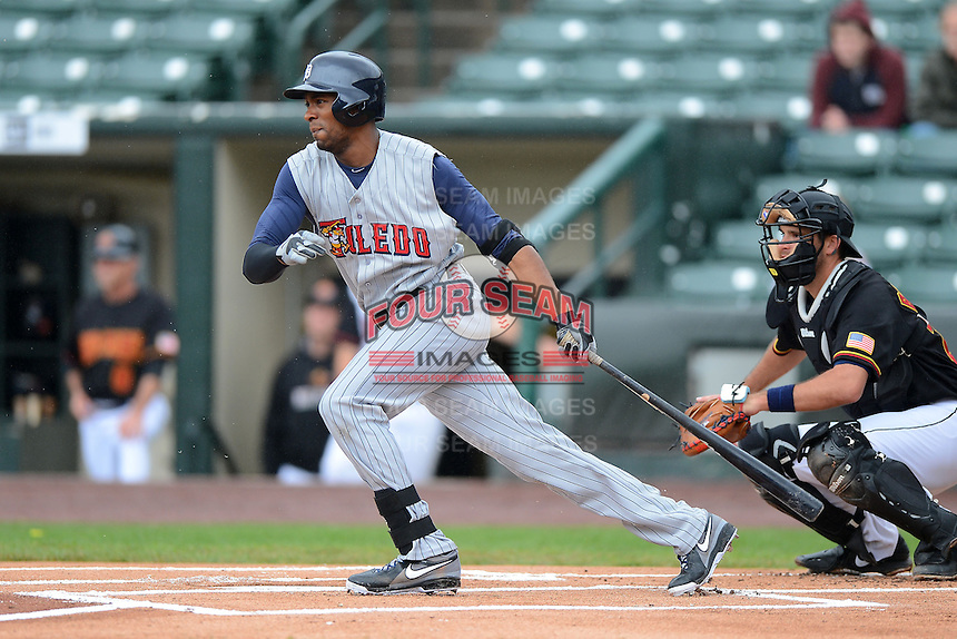 Toledo Mudhens outfielder Austin Jackson #8, on rehab from the Detroit Tigers, during a game against the Rochester Red Wings on June 11, 2013 at Frontier Field in Rochester, New York.  Toledo defeated Rochester 9-5.  (Mike Janes/Four Seam Images)