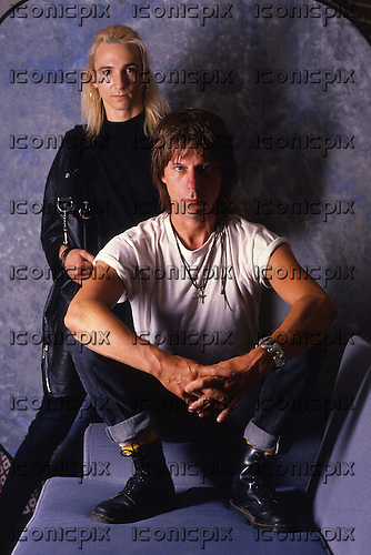 JEFF BECK & TERRY BOZZIO - photographed in London UK - 1989.  Photo credit: George Bodnar Achive/IconicPix