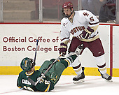 Corey Carlson, Tim Filangieri - The Boston College Eagles completed a shutout sweep of the University of Vermont Catamounts on Saturday, January 21, 2006 by defeating Vermont 3-0 at Conte Forum in Chestnut Hill, MA.