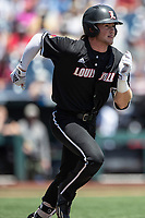 Louisville Cardinals outfielder Lucas Dunn (7) runs to first base during Game 3 of the NCAA College World Series against the Vanderbilt Commodores on June 16, 2019 at TD Ameritrade Park in Omaha, Nebraska. Vanderbilt defeated Louisville 3-1. (Andrew Woolley/Four Seam Images)