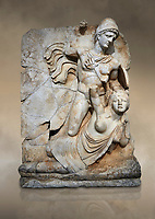 Roman Sebasteion relief  sculpture of emperor Claudius and Britannia, Aphrodisias Museum, Aphrodisias, Turkey.  Against an art background.<br /> <br /> Naked warrior emperor Claudius is about to deliver a death blow to the slumped Britannia. He wears a helmet, cloak and sword belt with a scabbard. Britannia wears a tunic with one breast exposed like the Amazon figures she was modelled on. The inscription reads: Tiberios Klaudios Kaiser - Bretannia.