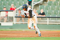 Tim Anderson (2) of the Kannapolis Intimidators takes off for second base against the Hickory Crawdads at CMC-Northeast Stadium on July 26, 2013 in Kannapolis, North Carolina.  The Intimidators defeated the Crawdads 2-1.  (Brian Westerholt/Four Seam Images)
