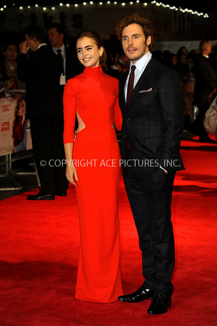 WWW.ACEPIXS.COM<br /> <br /> US SALES ONLY<br /> <br /> October 6, 2014, London, England<br />  <br /> Lily Collins and Sam Claflin arriving at the World Premiere of 'Love, Rosie' held at Odeon West End on October 6, 2014 in London, England.<br /> <br /> By Line: Famous/ACE Pictures<br /> <br /> ACE Pictures, Inc<br /> Tel: 646 769 0430<br /> Email: info@acepixs.com