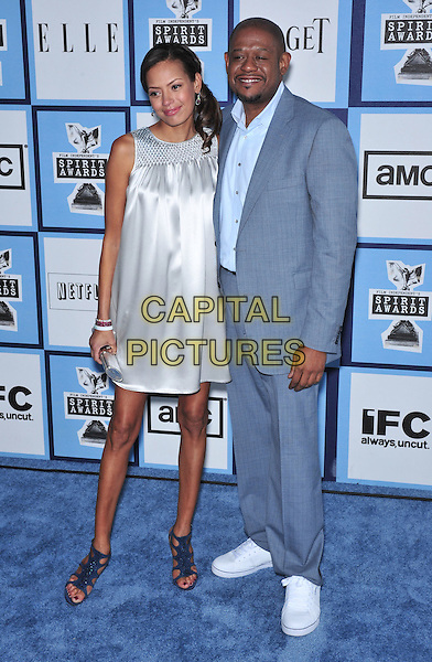 KEISHA WHITAKER & FOREST WHITAKER.23rd Film Independent Spirit Awards held at the Santa Monica Beach, Santa Monica, California, USA,.23 February 2008..full length grey dress suit married husband wife.CAP/ADM/GB.?Gary Boas/Admedia/Capital Pictures