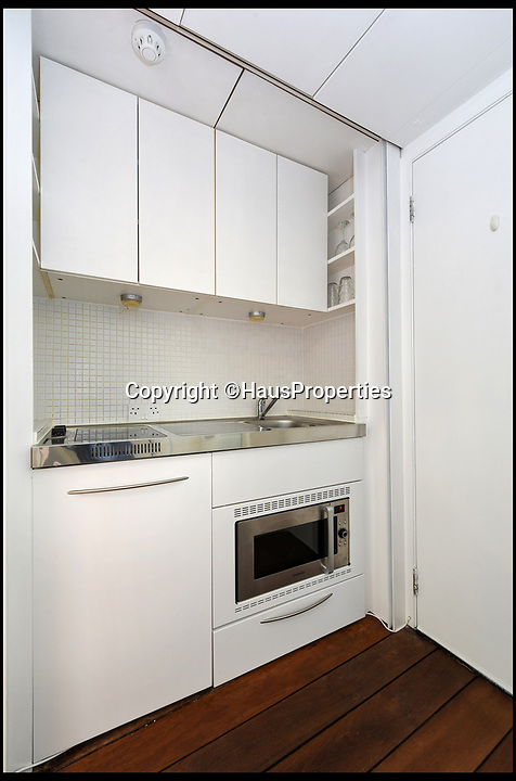 BNPS.co.uk (01202 558833)Pic: HausProperties/BNPS<br /> <br /> £225,000 for a Kensington flat to small to swing a cat.<br /> <br /> A maids' store cupboard which a clever architect couple have transformed into a habitable studio flat has gone on the market for £225,000.<br /> <br /> The bijou abode is unsurprisingly in trendy Kensington, west London, where people pay a premium for property.