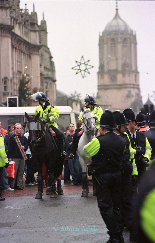 A demonstration (today 12/12/98) in Oxford City centre against  the Hillgrove cat farm in Witney where  cats are bred for vivisection.   The demo not only saw tempers rising  between police officers and demonstrators (made all the more  tense due to Barry Horne's hunger strike) but also caused Christmas shopping chaos in Oxford as the police sealed off main streets.