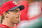 22 August 2015: Washington Nationals pitcher Max Scherzer watches play from the dugout during a game against the Milwaukee Brewers at Nationals Park in Washington, DC. The Nationals defeated the Brewers 6-1 in the second game of their 3-game weekend series. Mandatory Credit: Ed Wolfstein Photo *** RAW (NEF) Image File Available ***