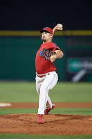 Clearwater Threshers relief pitcher Blake Quinn (55) delivers a pitch during a game against the Jupiter Hammerheads on April 9, 2018 at Spectrum Field in Clearwater, Florida.  Jupiter defeated Clearwater 9-4.  (Mike Janes/Four Seam Images)