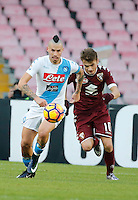 Marek Hamsik and Adem Ljalic  during the  italian serie a soccer match,between SSC Napoli and Torino       at  the San  Paolo   stadium in Naples  Italy , December 18, 2016