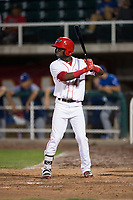 Orem Owlz center fielder D'Shawn Knowles (4) at bat during a Pioneer League game against the Ogden Raptors at Home of the OWLZ on August 24, 2018 in Orem, Utah. The Ogden Raptors defeated the Orem Owlz by a score of 13-5. (Zachary Lucy/Four Seam Images)