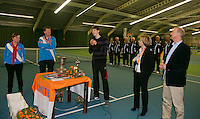 Rotterdam, The Netherlands, 15.03.2014. NOJK 14 and 18 years ,National Indoor Juniors Championships of 2014, Trophy giving on court, <br /> Photo:Tennisimages/Henk Koster