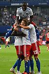 15.08.2018,  GER; FBL, Testspiel, Hamburger SV vs FC Bayern Muenchen ,DFL REGULATIONS PROHIBIT ANY USE OF PHOTOGRAPHS AS IMAGE SEQUENCES AND/OR QUASI-VIDEO, im Bild Khaled Narey (Hamburg #07) schiesst das Tor zum 1-0 fuer Hamburg und jubelt mit der Mannschaft Foto © nordphoto / Witke *** Local Caption ***