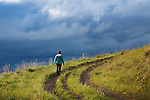 hiking on mount sentinel in spring in missoula, montana