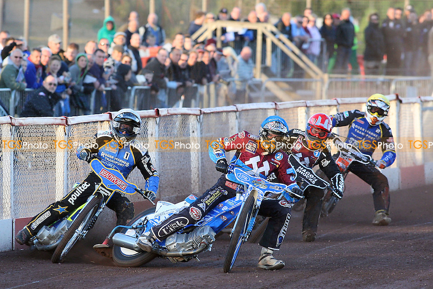 Heat 1: Lee Richardson (red), Kauko Nieminen (blue), Kenneth Bjerre (white) and Tomas Topinka - Lakeside Hammers vs King's Lynn Stars - Elite League Speedway at Arena Essex Raceway - 21/05/11 - MANDATORY CREDIT: Gavin Ellis/TGSPHOTO - Self billing applies where appropriate - Tel: 0845 094 6026
