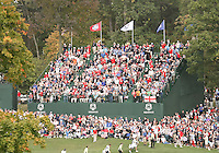 28 SEP 12  Flags above the 17th green during Fridays foresome and four ball matches  at The 39th Ryder Cup at The Medinah Country Club in Medinah, Illinois.