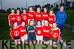 The Iveragh United U14 Girls side who had their first competitive outing on Saturday against Listowel Celtic FC pictured here front l-r; Charlotte Hulme, Ciara Devlin, Cliodhna Guiney, Caoimhe O'Shea, Natalie O'Connor, Riona Moran, back l-r; Sadbh O'Shea, Kelsey McCarthy, Rachel O'Connor, Abbie O'Sullivan, Sarah Landers, Lydia Clem-O'Sullivan, Orla Fayen & Nial Fitzgerald(Manager).