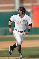 Bobby Stahel (4) of the Southern California Trojans runs the bases during a game against the Oakland Grizzlies at Dedeaux Field on February 21, 2015 in Los Angeles, California. Southern California defeated Oakland, 11-1. (Larry Goren/Four Seam Images)