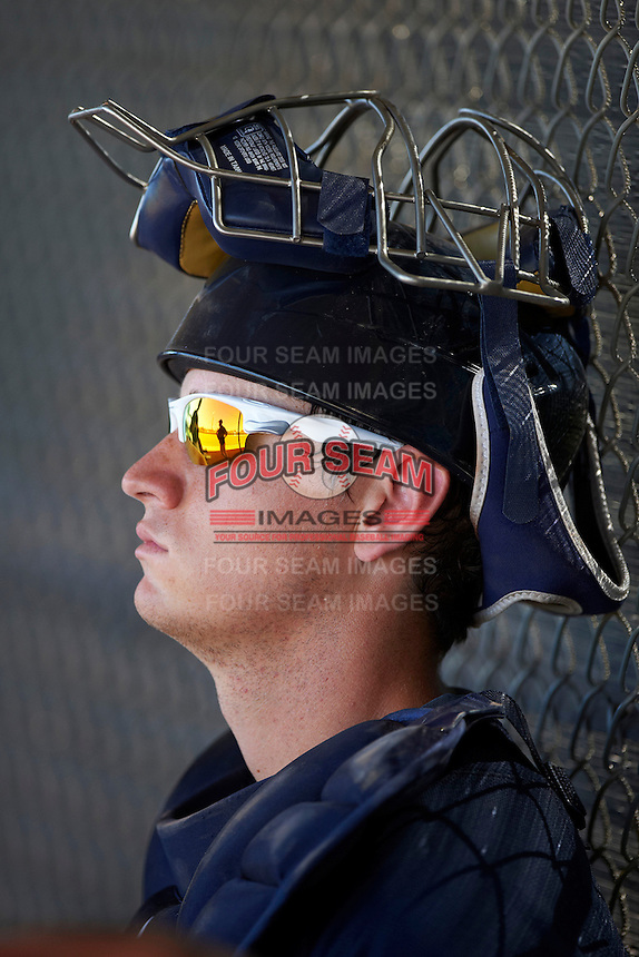 Seattle Mariners minor league catcher Marcus Littlewood #13 during an instructional league game against the Kansas City Royals at the Peoria Sports Complex on October 2, 2012 in Peoria, Arizona.  (Mike Janes/Four Seam Images)